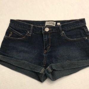 Roxy Sz 7 Jr Short Shorts Dark Blue Jean Roll Hem